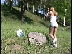 4 movies - Sexy shaved teen peeing outdoor