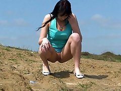 3 movies - Shameless brunette hoochie peeing on the road
