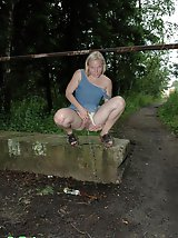 16 pictures - Nasty blonde teeny pissing in a quiet park