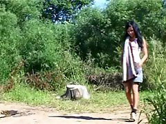 4 movies - Brunette teen peeing near the lake